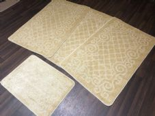 ROMANY GYPSY WASHABLE NON SLIP SET OF 4 MATS-RUGS LIGHT BEIGES CHEAPEST AROUND